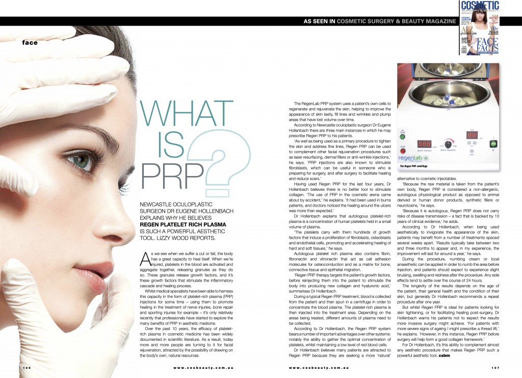 PRP article from Cosmetic Magazine